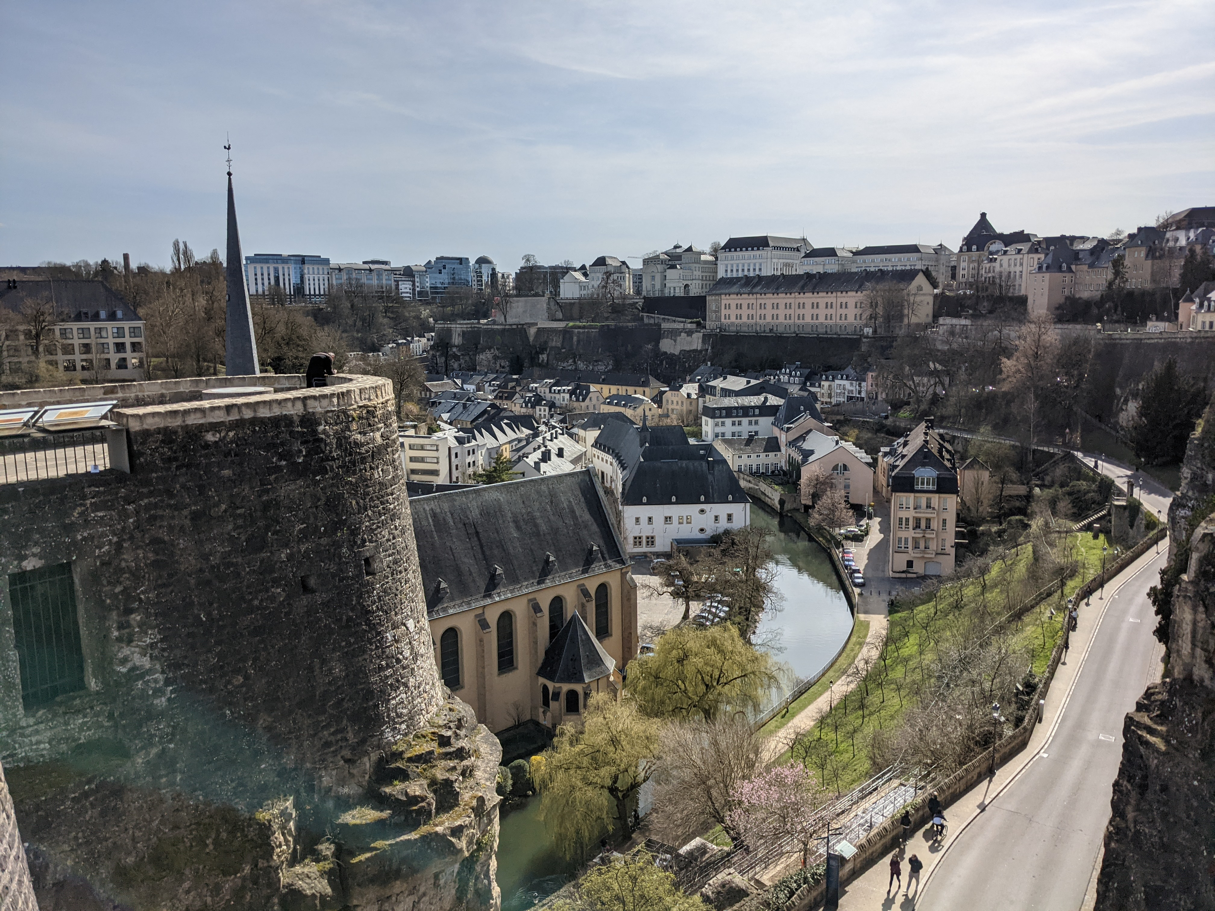 Looking over the Abbeye Neumunster and Alzette river in the Grund in Luxembourg City